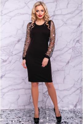 Ніжне чорне приталенне нарядне плаття