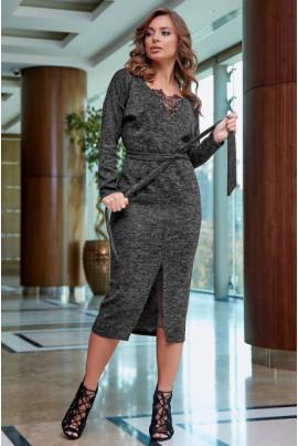 Нарядна чорна сукня з мереживним топом і вставкою по низу