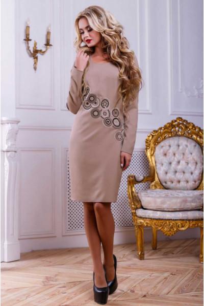 Кавове розкішне плаття з вишивкою