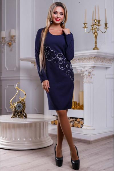 Синє привабливе плаття з паєтками
