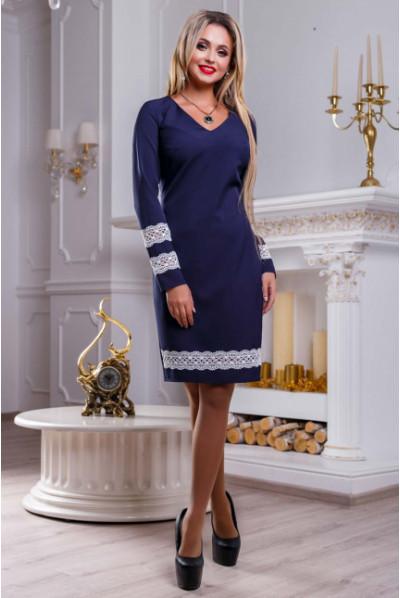 Темно-синє витончене плаття з мереживом