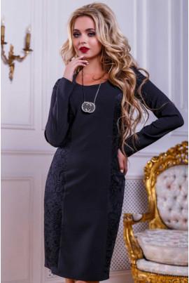 Чорне витончене плаття з гіпюром