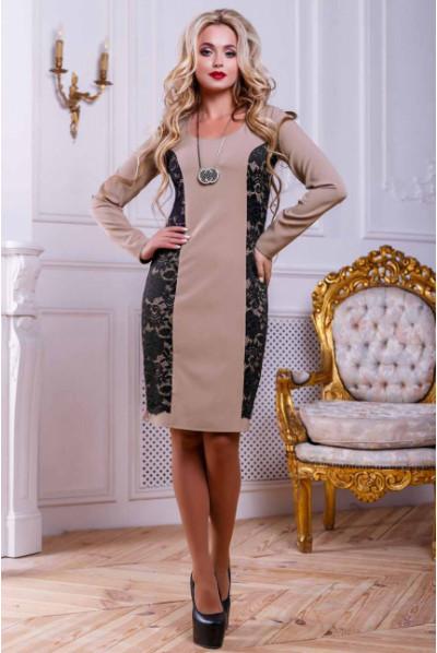 Кавове спокусливе плаття з гіпюром