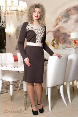Коричневе елегантне плаття з принтом