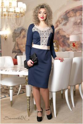 Темно-синє класичне плаття міді