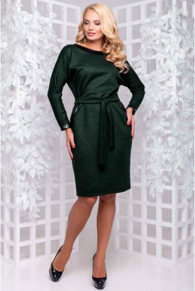 Темно-зелене тепле плаття з паском