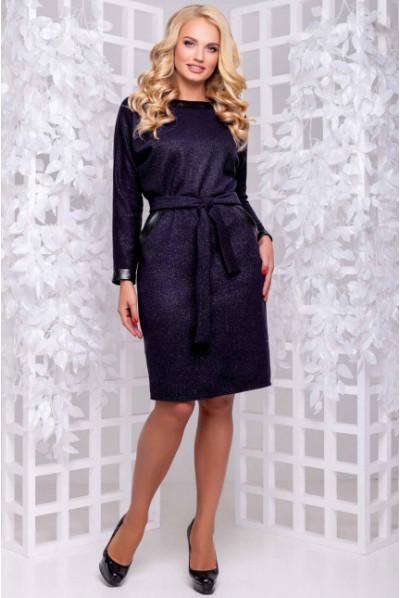 Темно-синє тепле плаття з паском
