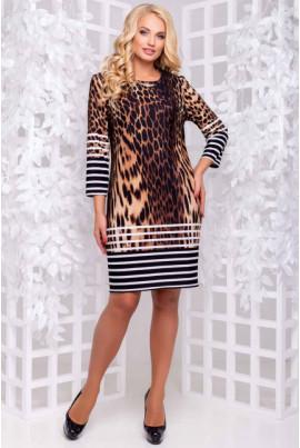 Леопардова сукня коричнева зі смужками