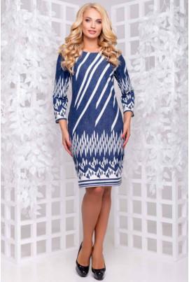 Синьо-біле плаття з оригінальним принтом