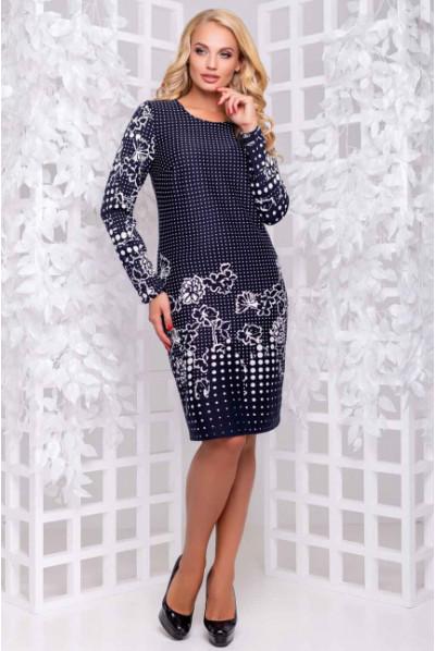 Елегантне темно-синє плаття з неповторним принтом