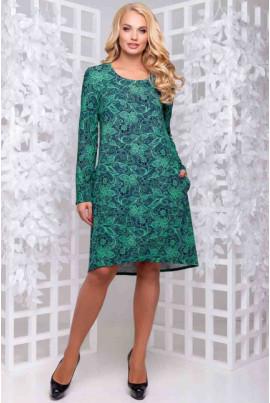 Зелене плаття а-силуету з квітковим принтом