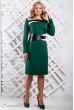 Зелена сукня зі вставкою з еко-шкіри