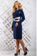 Темно-синя сукня зі вставкою з еко-шкіри