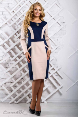 Стильне приталене плаття синьо-бежеве