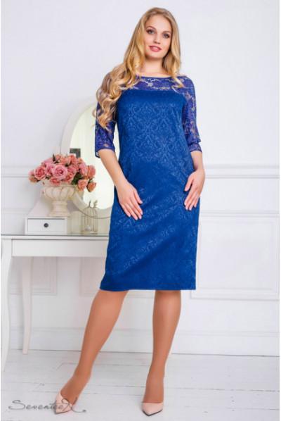 Нарядне яскраво-синє плаття зі вставкою з мереживом