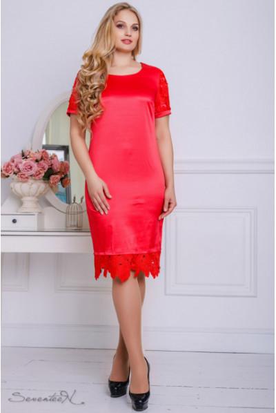 Атласне червоне плаття з мереживом по низу