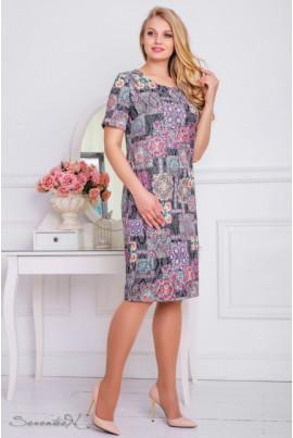 Літнє жаккардове плаття з барвистим принтом