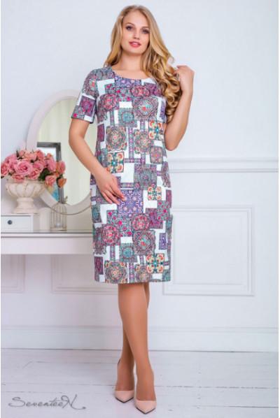 Літнє жаккардове плаття з барвистим світлим принтом