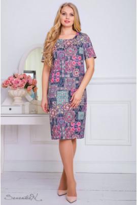 Літнє жаккардове плаття з барвистим рожевим принтом