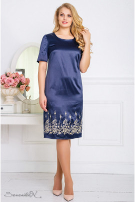 Темно-синє атласне нарядне плаття з вишивкою