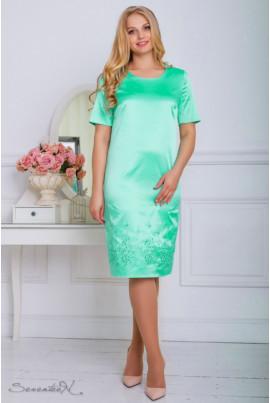 Бірюзове атласне нарядне плаття з вишивкою