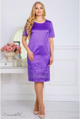 Бузкове атласне нарядне плаття з вишивкою