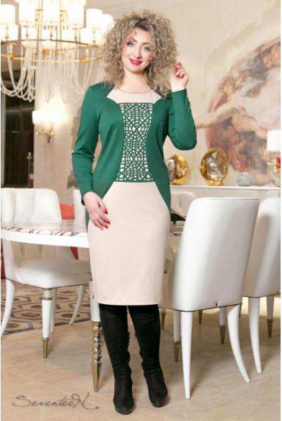 Освіжаюче трикотажне плаття бежеве з зеленим