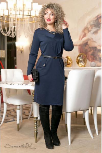 Класичне темно-синє трикотажне плаття