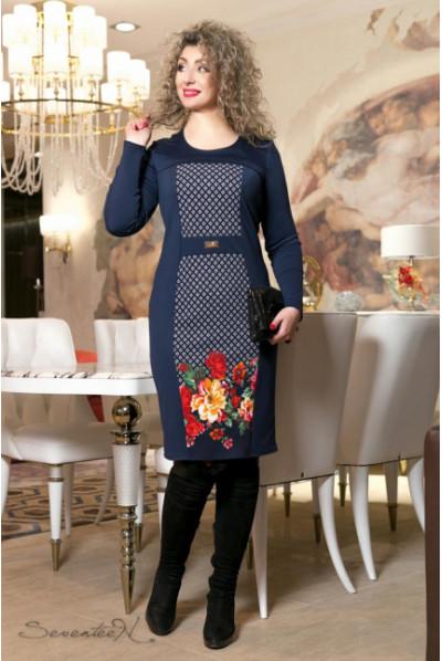Трикотажне плаття з принтом яскраві квіти