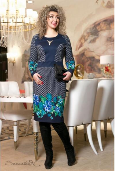 Трикотажне сине плаття з квітковим малюнком
