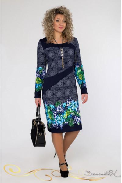 Незвичне комбіноване плаття з бірюзовими квітами