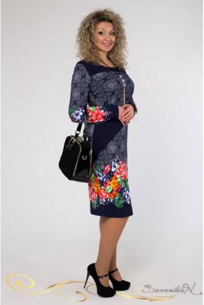 Незвичне комбіноване плаття з яскравими квітами