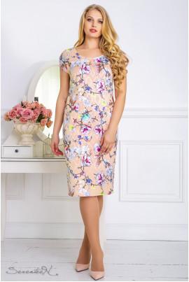 Персикове ніжне плаття міді з принтом