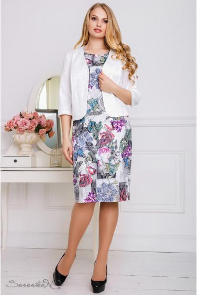 Біле нарядне плаття з жакетом