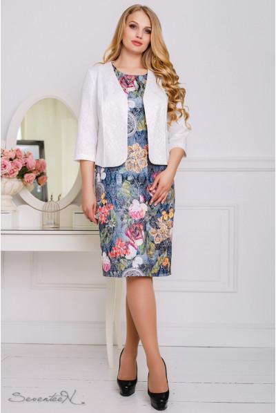 Синє стильне плаття з білим жакетом