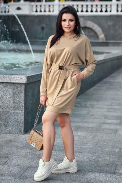 Стильне плаття кольору кави в спортивному стилі