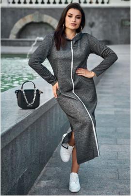 Чорне спортивне плаття міді для повних жінок