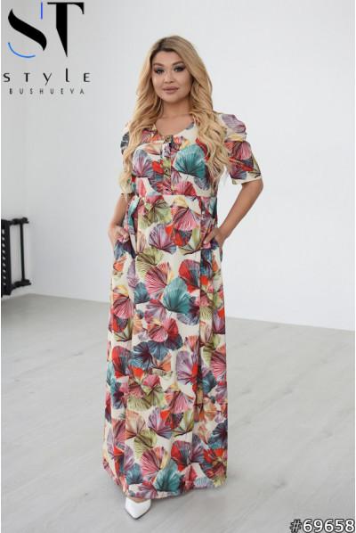 Літнє плаття максі з оригінальним принтом