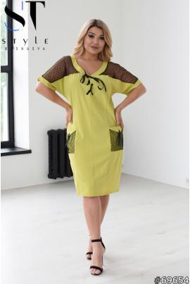 Оливкова оригінальна повсякденна сукня міді великих розмірів