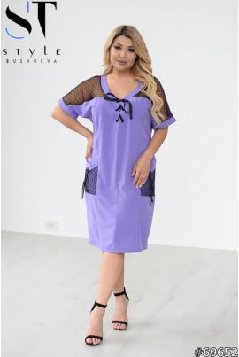 Бузкова зручна жіноча сукня для жінок з пишними формами