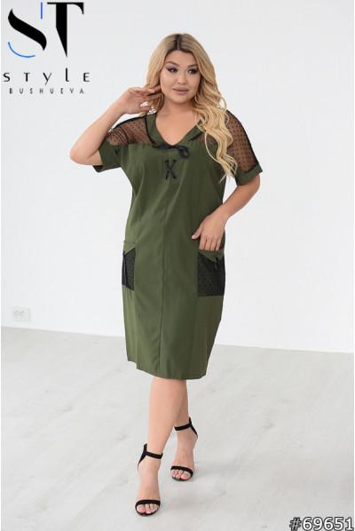 Модна лаконічна сукня міді кольору хакі