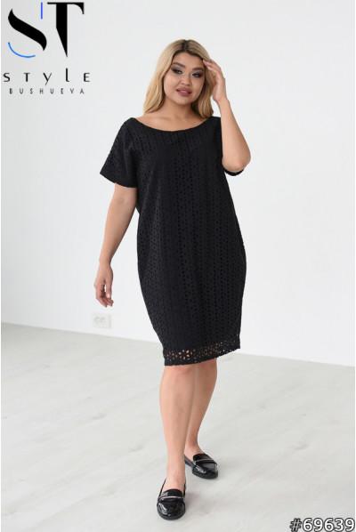 Чорна мінімалістична однотонна сукня з прошви