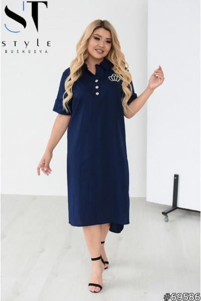 Темно-синє льняне офісне плаття міді