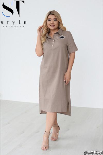 Бежева льняна повсякденна сукня великих розмірів