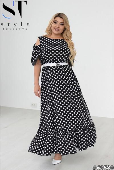 Чорна розкішна сукня з принтом в горох для повних жінок