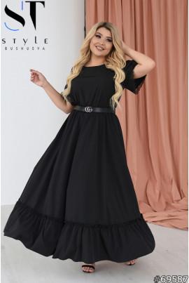 Чорна ефектна сукня максі великих розмірів