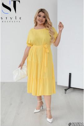 Жовта неймовірно легка котонова сукня великих розмірів