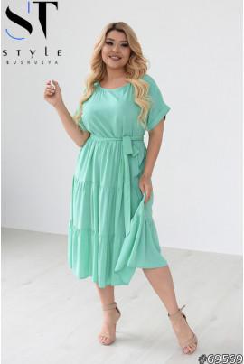 М'ятне стильне жіноче плаття з воланами