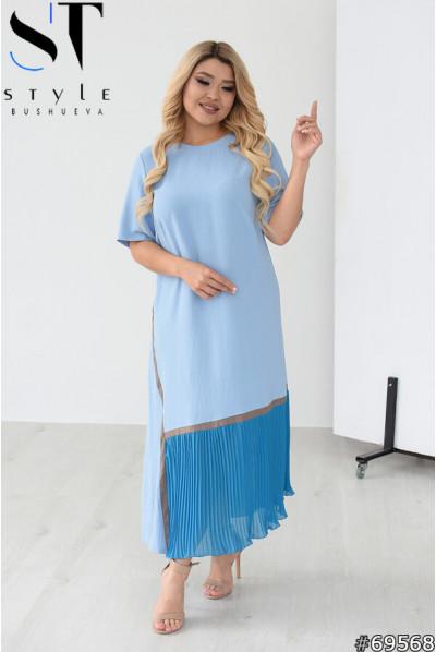 Блакитне ошатне плаття міді для жінок з королівськими формами