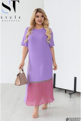 Бузкове чарівне плаття з шифоновою вставкою